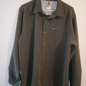 READ Green The North Face Button-up Shirt Large